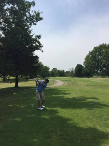Brandon Paternoster lines up a drive.
